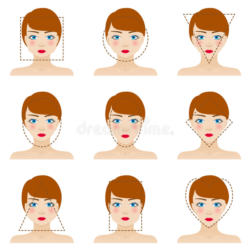 Different woman's face shapes set vector illustration