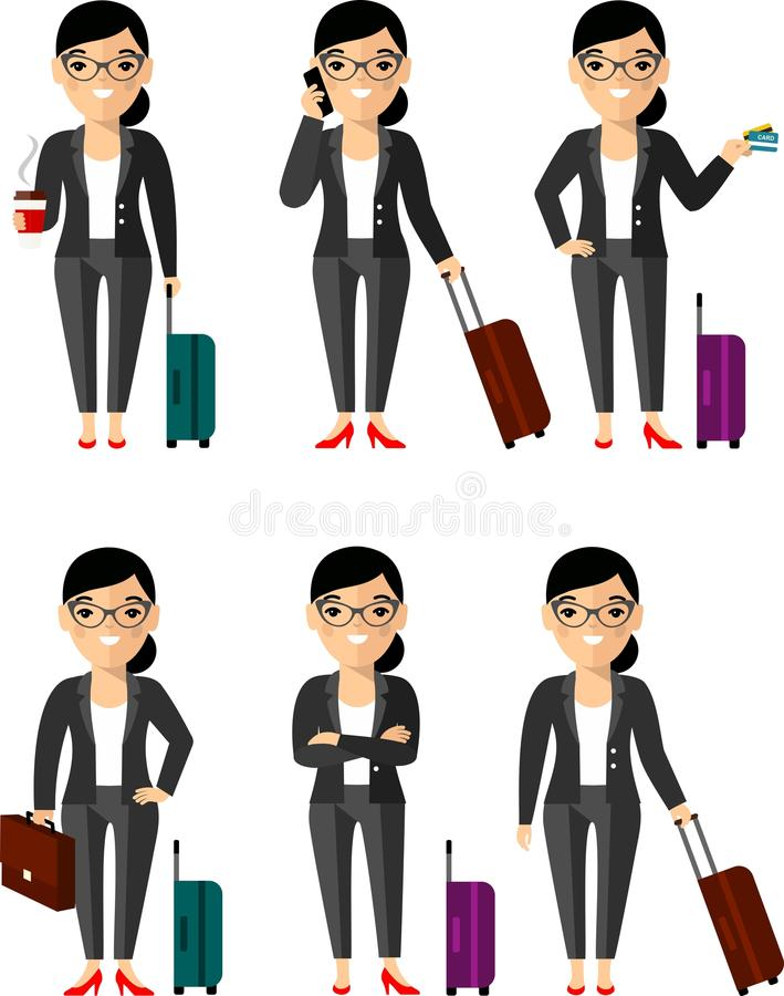 Set of businessman traveler with baggage in different poses royalty free illustration