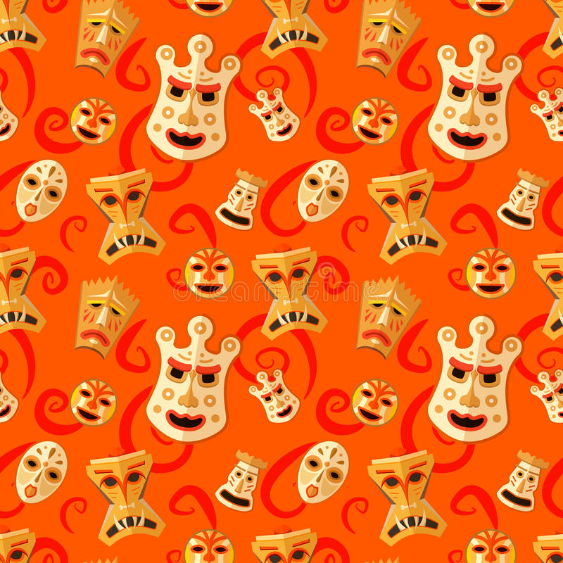 Different wooden voodoo masks on red background seamless pattern royalty free illustration