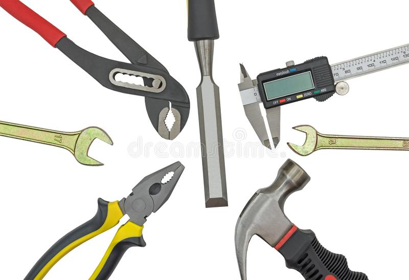 Different Work tools on a white royalty free stock photos