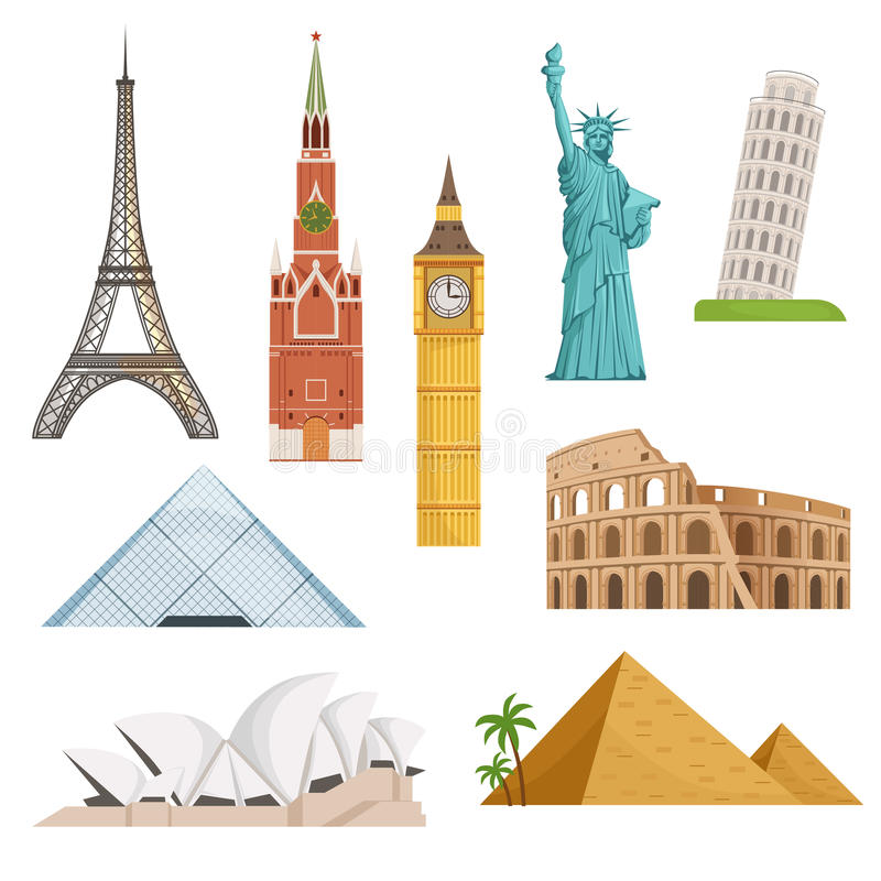 Free Different World Famous Symbols Set Isolate On White. Historical Buildings, Landmarks. Vector Illustrations Stock Photography - 97076452