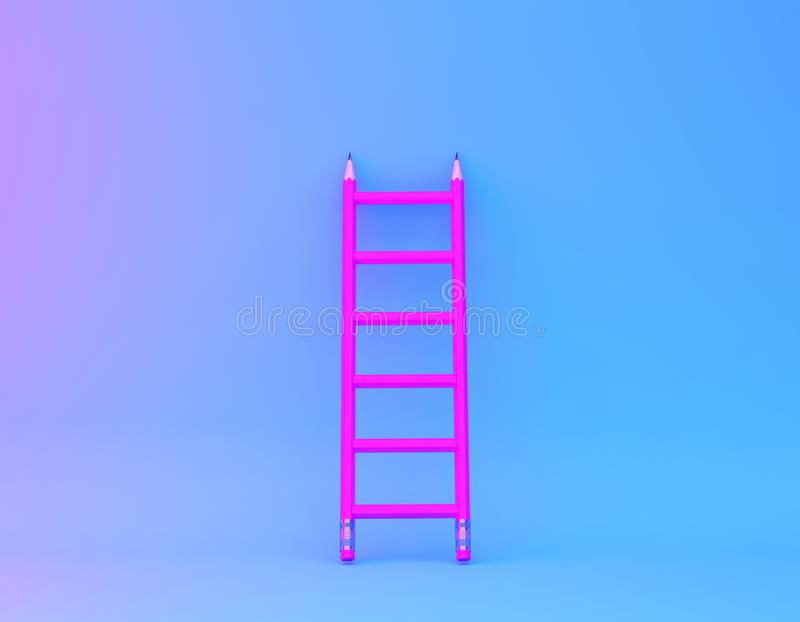 Different Yellow pencil and pink pencil on pink pastel background. minimal creative concept. The idea about the business leadershi. P, think different royalty free stock images