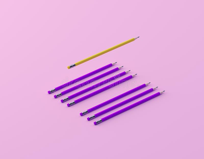 Different Yellow pencil and pink pencil on pink pastel background. minimal creative concept. The idea about the business leadershi stock images