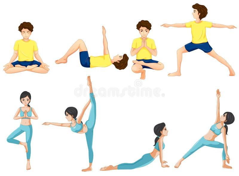 Different yoga poses royalty free illustration