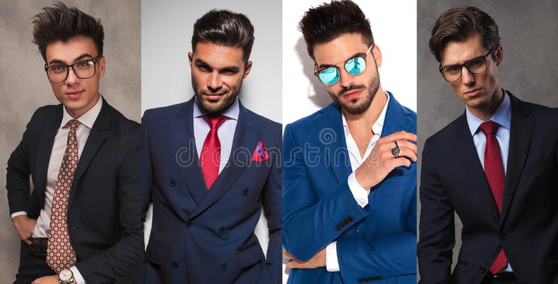4 different young business men stock photography