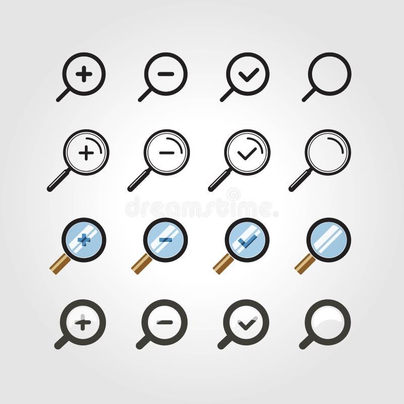 Different zoom icons set. Design elements vector illustration