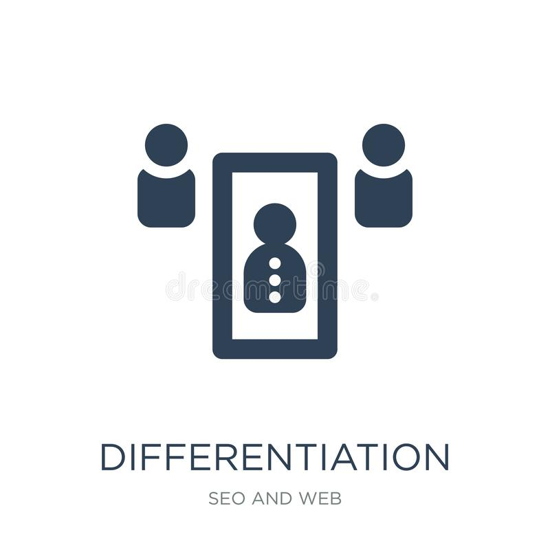 differentiation icon in trendy design style. differentiation icon isolated on white background. differentiation vector icon simple royalty free illustration