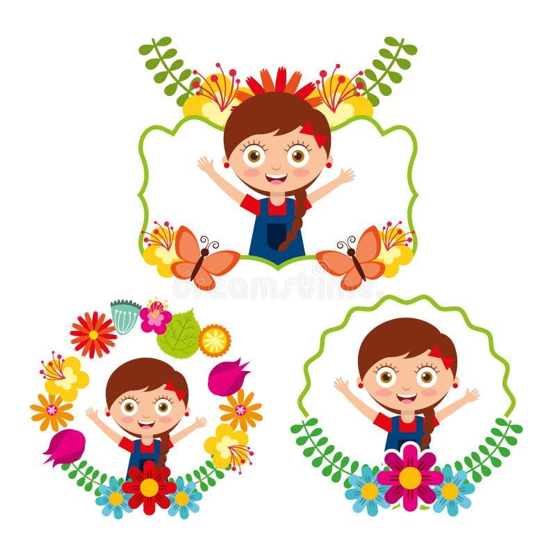 Differents etykietki dziewczyny ślicznych szczęśliwych kwiatów kwiecista dekoracja ilustracji