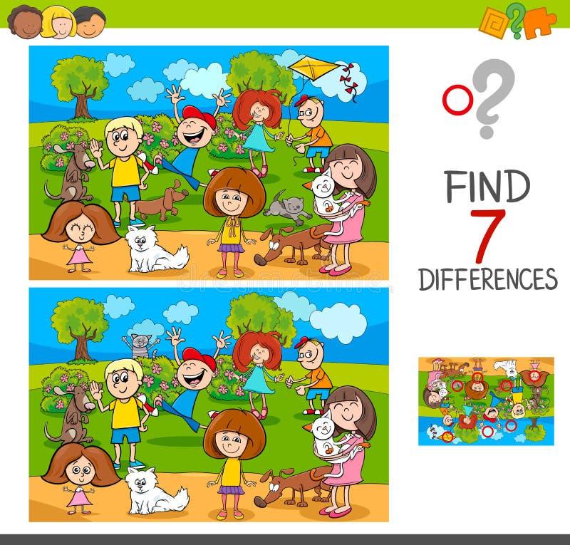 Differenze del ritrovamento con i caratteri degli animali domestici e dei bambini royalty illustrazione gratis