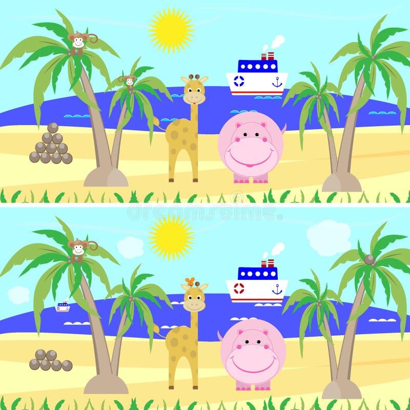 Differenze del ritrovamento di puzzle del gioco del ` s dei bambini, royalty illustrazione gratis