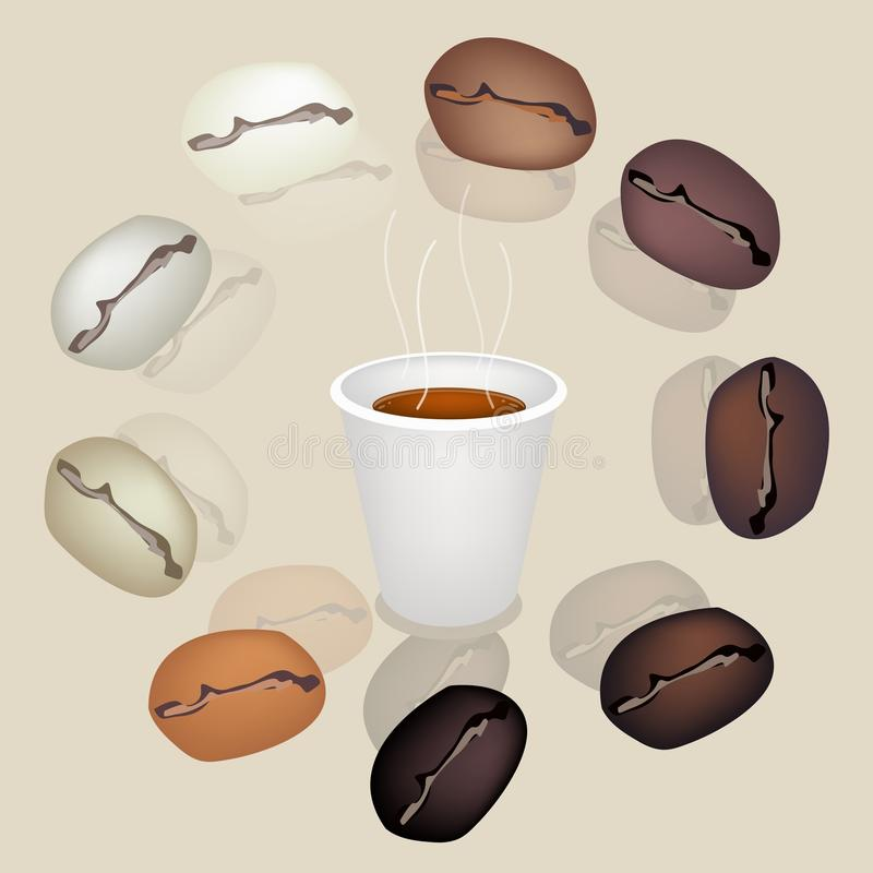 Download Differrent Coffee Beans Around A Coffee Cup Royalty Free Stock Images - Image: 32923689