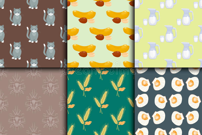 Differrent seamless pattern set with cats food nuts milk oysters bugs spikelets vector illustration. vector illustration