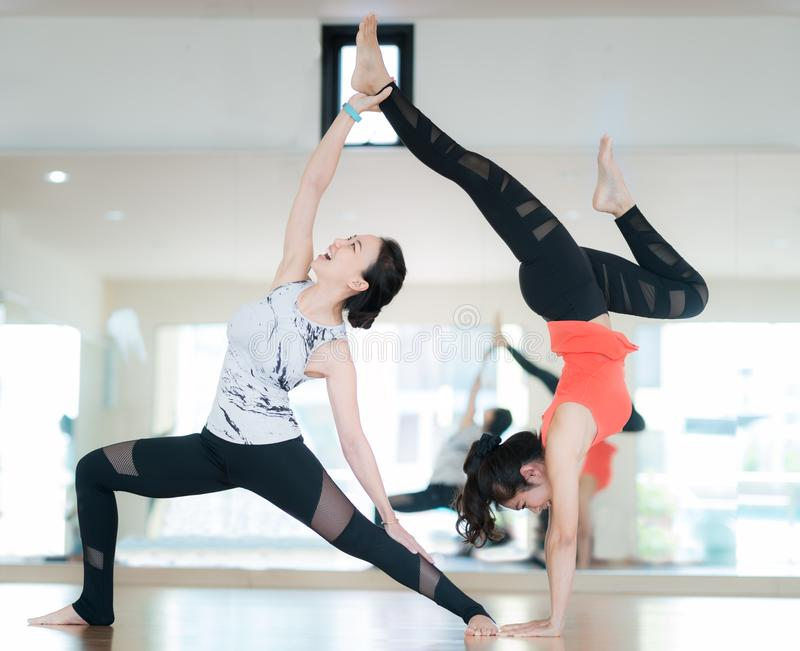 Diffical level of yoga dance royalty free stock photos