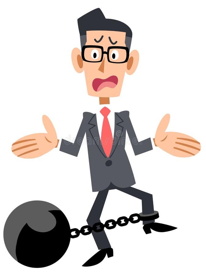 Difficoltà di Eyeglasses Fetters dell'uomo d'affari royalty illustrazione gratis