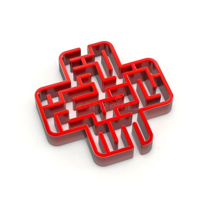 Difficulté d'industrie médicale de labyrinthe de soins de santé illustration libre de droits