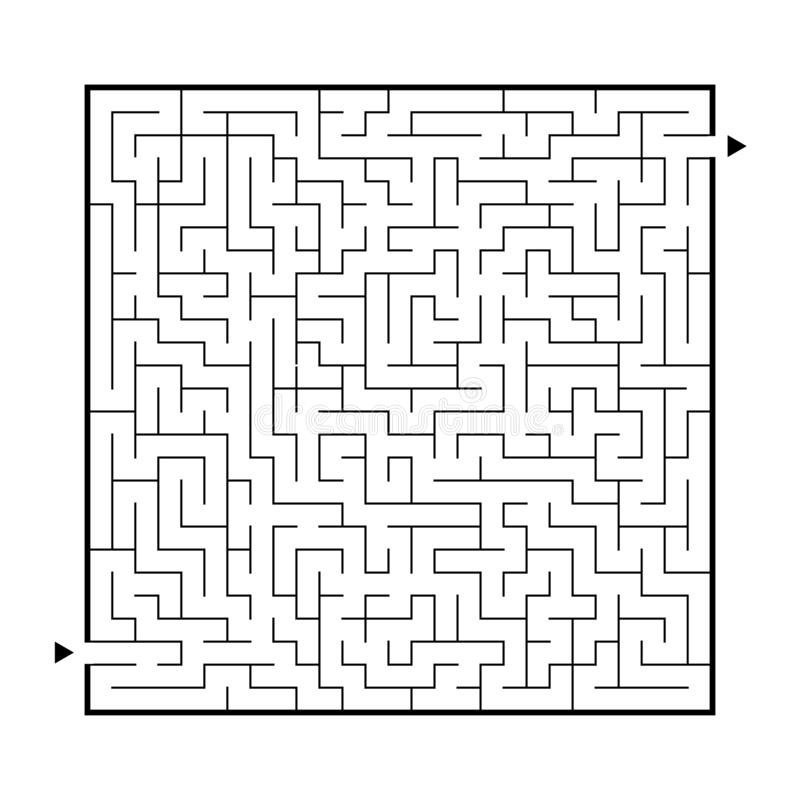 Difficult big maze. Game for kids and adults. Puzzle for children. Labyrinth conundrum. Find the right path. Flat vector. Illustration stock illustration