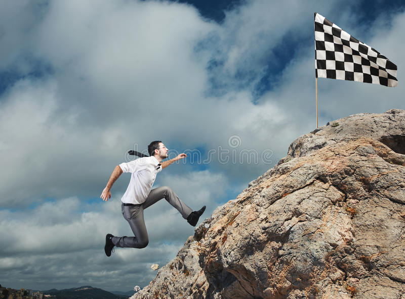Difficult career and achievement business goal stock photos
