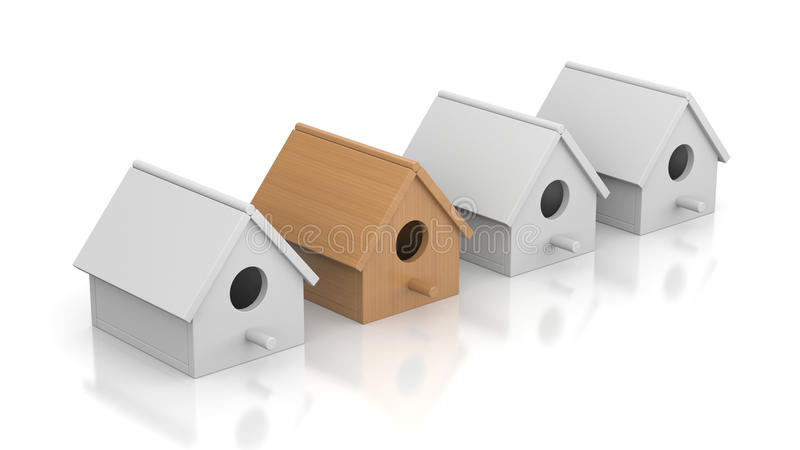 Difficult choice of a new home. Business concept. Separated on white stock illustration