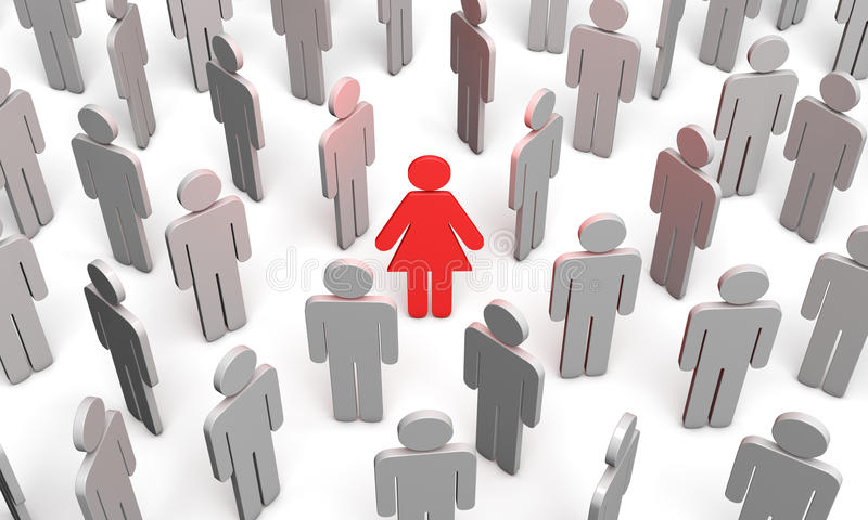 Difficult choice (symbolic figures of people). Standing Out from the Crowd. Available in high-resolution and several sizes to fit the needs of your project stock illustration