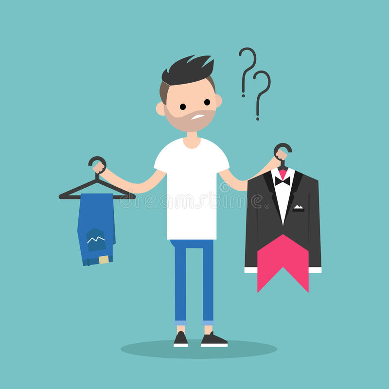 Difficult choice. Young bearded man trying to decide what to wear. For the event / Flat clip art illustration vector illustration