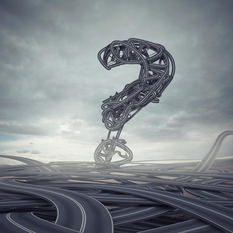 Difficult choices. 3D Rendering. Skein of roads with big question mark. 3D Rendering royalty free illustration