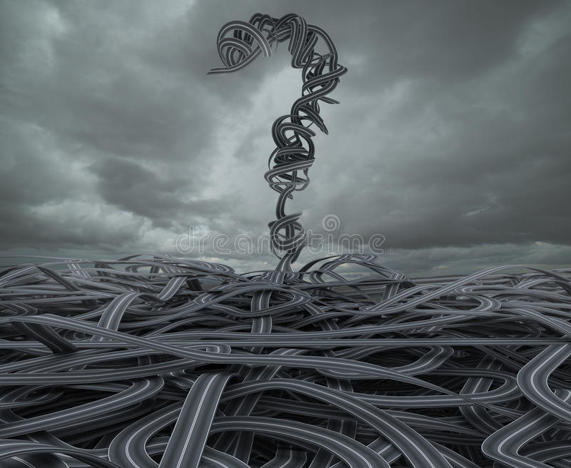 Difficult choices due to crisis. 3D Rendering. 3D Rendering skein of roads with big question mark stock photography