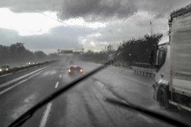 Bad weather on the highway stock images