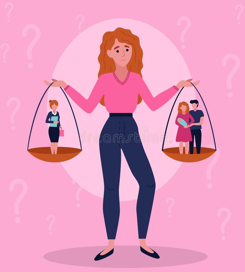 Difficult female choice between career and family stock illustration