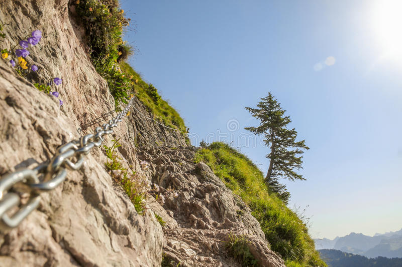 Difficult Hiking Path. Dangerous and difficult hiking path in the swiss mountains royalty free stock photos