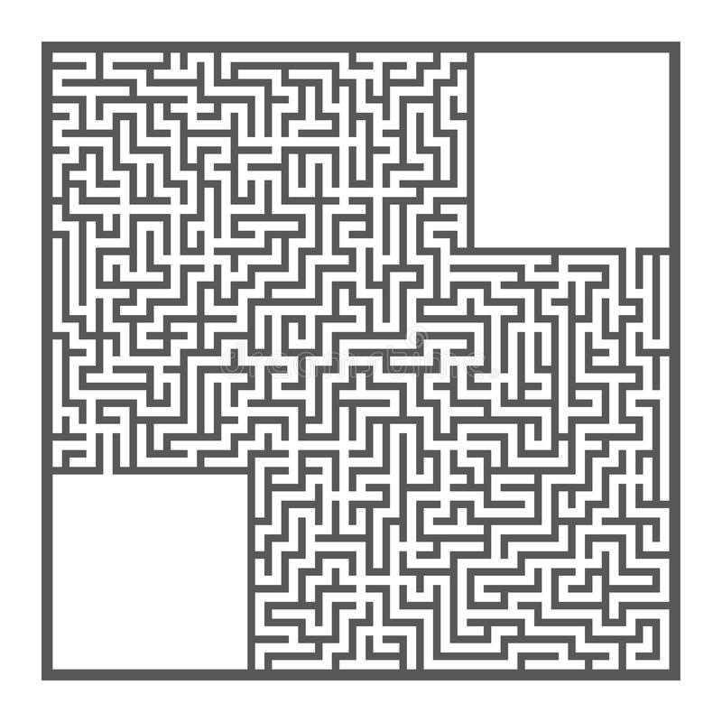 Difficult large square maze. Game for kids and adults. Puzzle for children. Labyrinth conundrum. Flat vector illustration isolated. On white background royalty free illustration