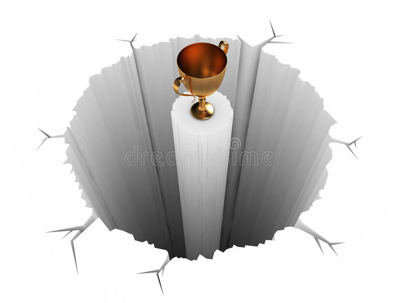 Difficult Prize. The Cup(prize) being on a column, in the middle of a pit, making it difficult to cash-in royalty free illustration