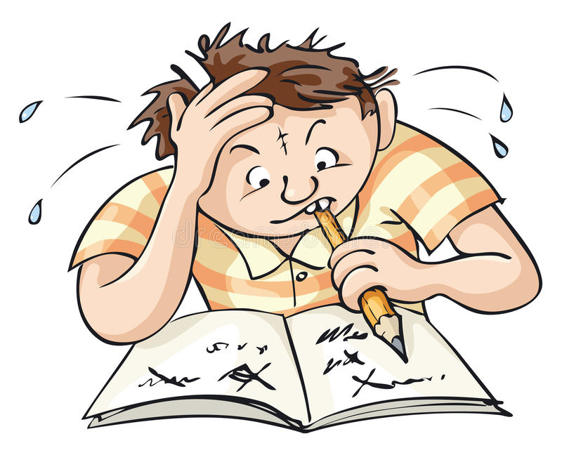 Difficult Task. A young man tries to solve a complex task vector illustration