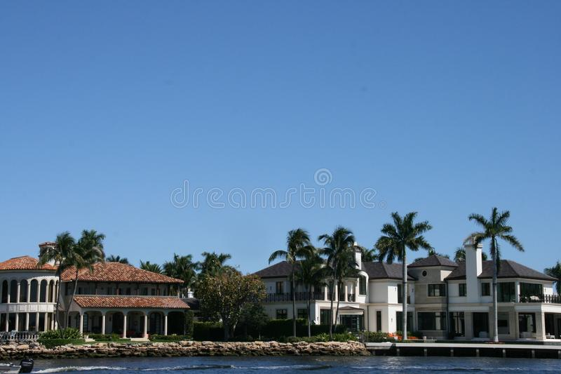 Difficult to chose. Beautiful houses along the new River in Fort Lauderdale stock photo