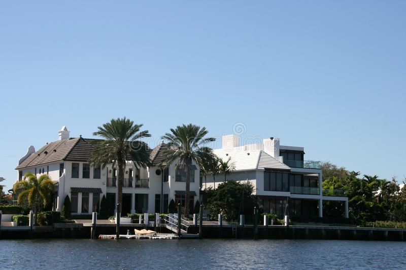Difficult to chose. Beautiful houses  along the new River in Fort Lauderdale stock photos