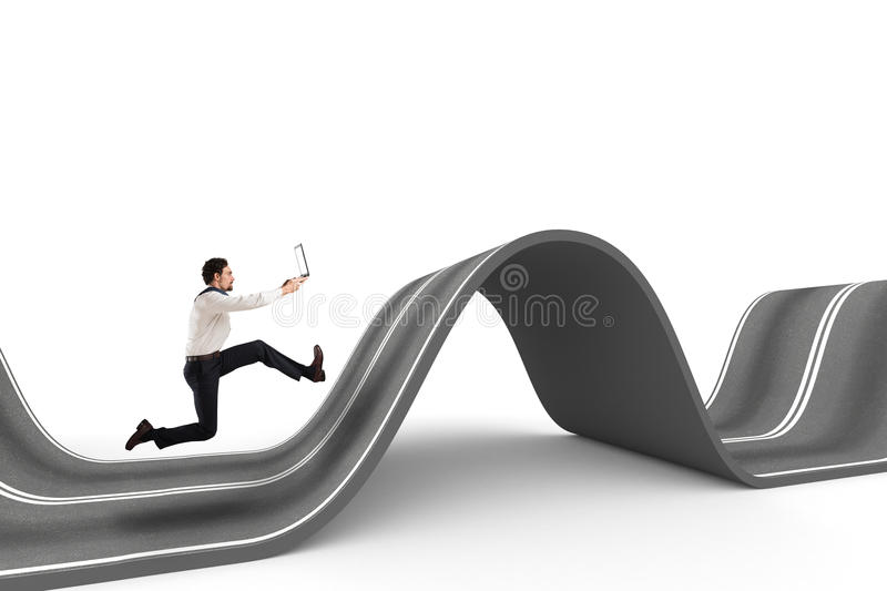 Difficult way . 3D Rendering. Businessman with the computer runs on a winding road. 3D Rendering stock photo