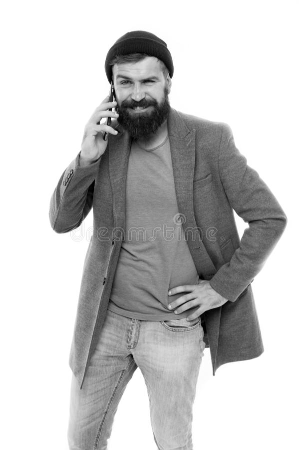 Difficulties mobile communication. Man bearded hipster hold mobile phone white background. Hipster smartphone call stock photos