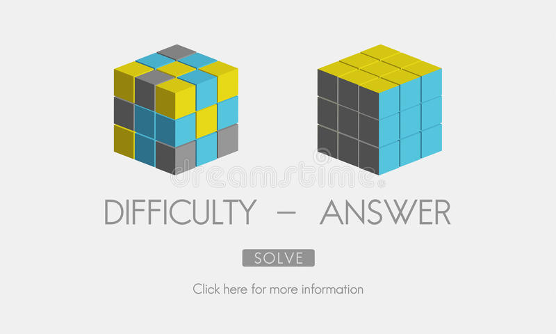 Difficulty Answer Solution Solving Strategy Result Concept.  stock illustration