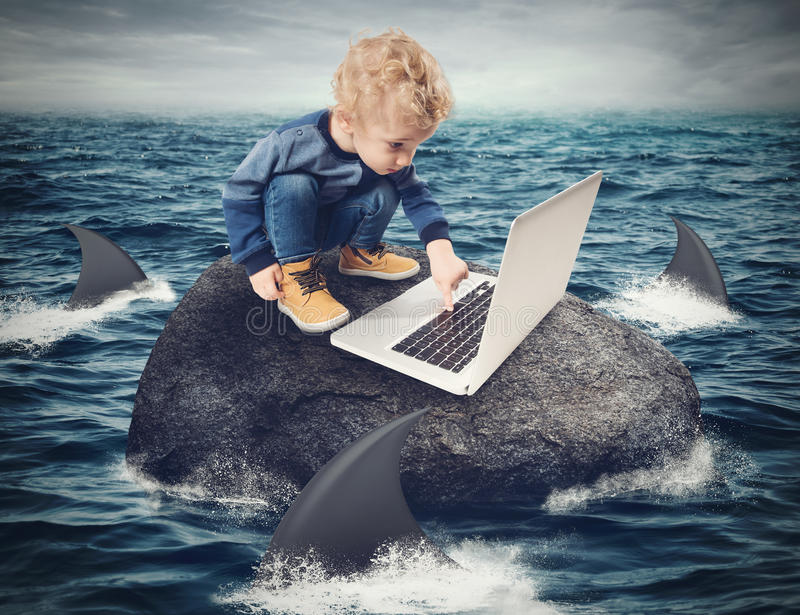 Difficulty Internet concept. Child looks at the computer on a rock surrounded by sharks stock illustration