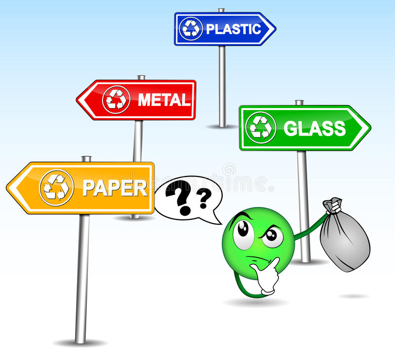 Difficulty sorting its waste. Humorous illustration of difficulty sorting its waste royalty free illustration