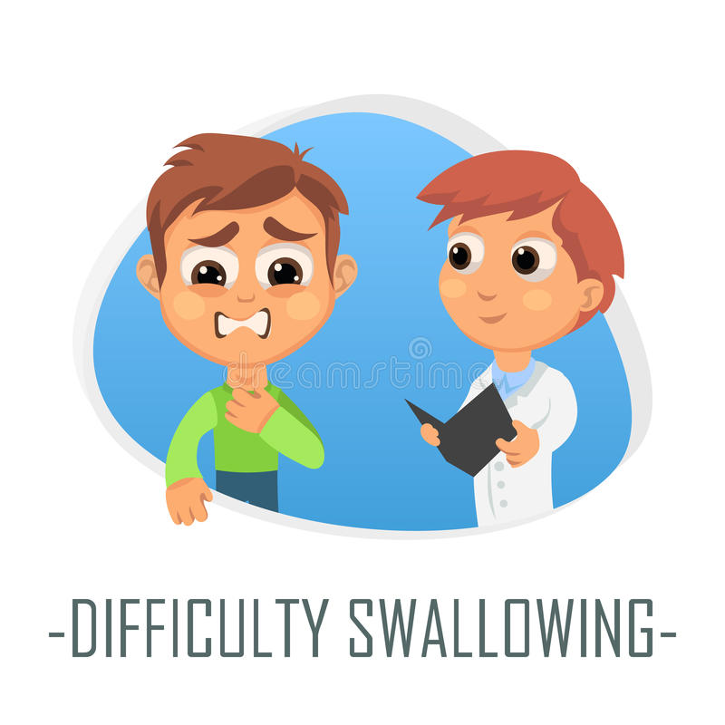 Difficulty swallowing medical concept. Vector illustration. Doctor and patient are talking in the hospital. Isolated on white background stock illustration