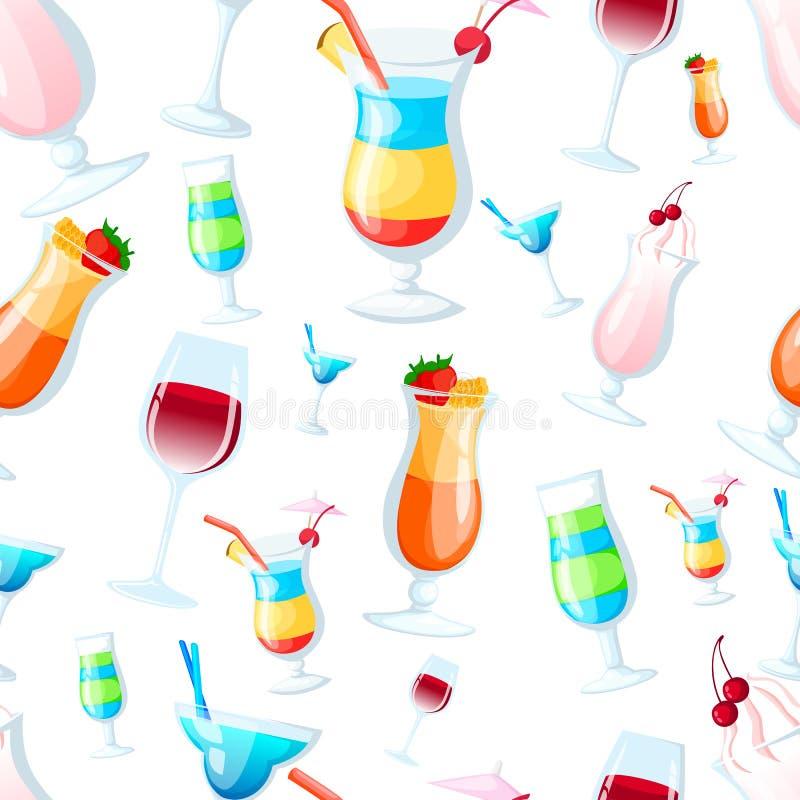 diffirent鸡尾酒的无缝的样式在玻璃例证的在白色背景网站页和流动app设计 库存例证