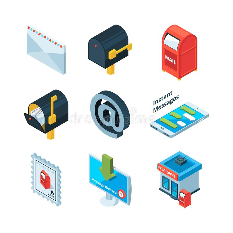 Diffrent postal symbols. Isometric pictures of mailbox, latters and email sign stock illustration