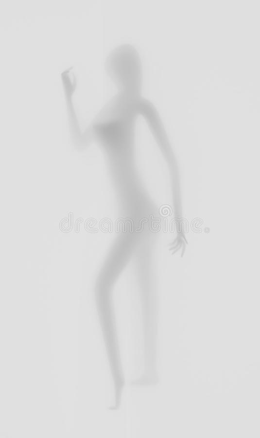 Diffuse woman silhouette, hands, grey, 3d illustration stock illustration