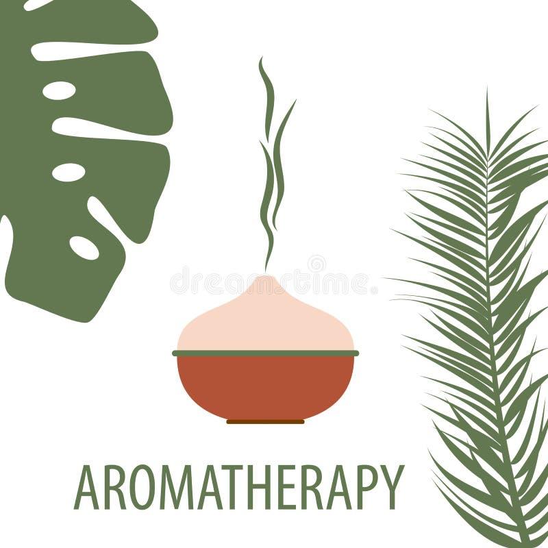 diffuseur d'aromathérapie avec arôme tropical, feuilles de palme sur fond blanc illustration stock