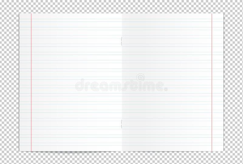 Diffusione in bianco realistica del libro della copia di pratica della scrittura illustrazione vettoriale