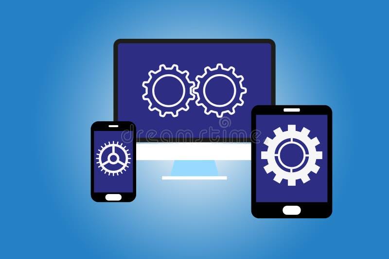 Dificuldade no projeto de interface de utilizador através dos dispositivos diferentes e ilustração royalty free