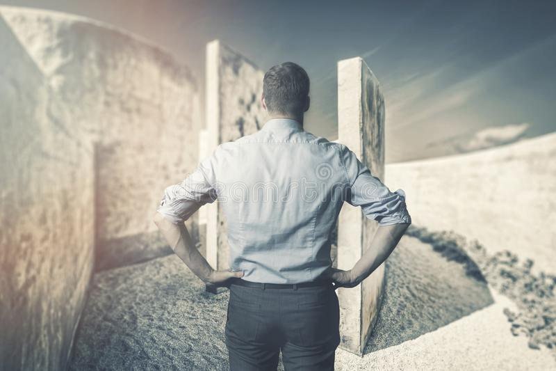 Dificuldades e desafios do negócio Labirynths do negócio foto de stock royalty free