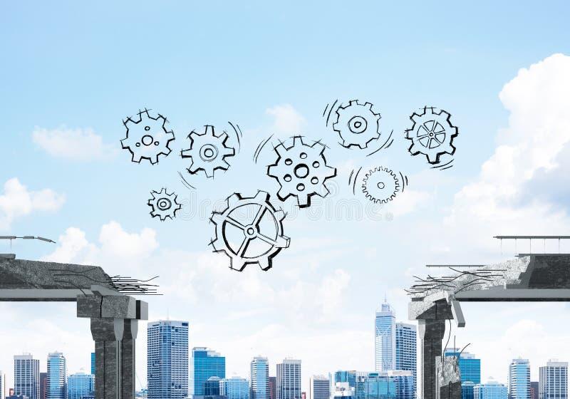 Dificuldades no conceito do negócio e dos trabalhos de equipa ilustração royalty free