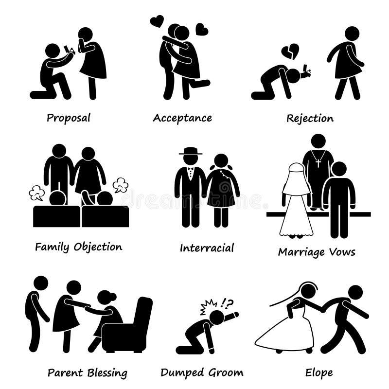 Dificultad Cliparts del problema de la boda de los pares del amor ilustración del vector
