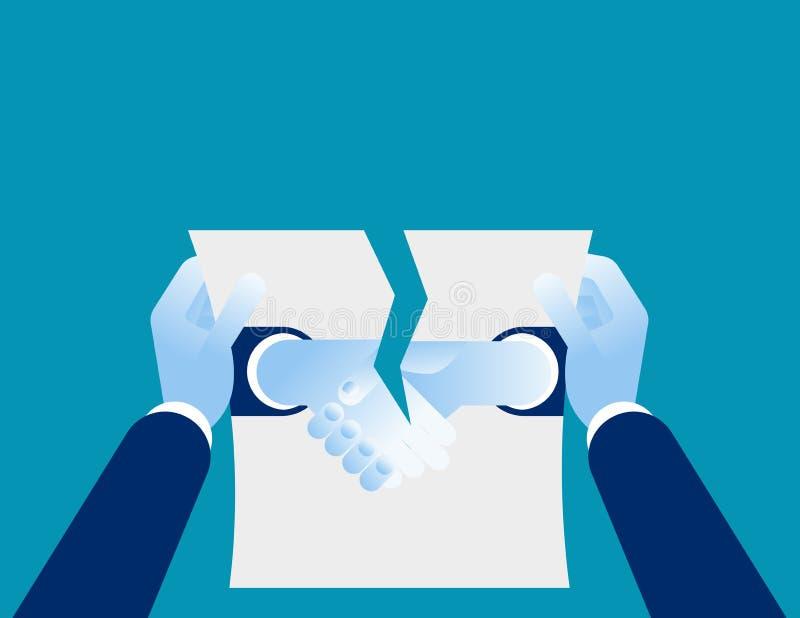 Dificultades de la relación Acuerdo de la cancelación de la mano Vectorillustration del negocio del concepto ilustración del vector